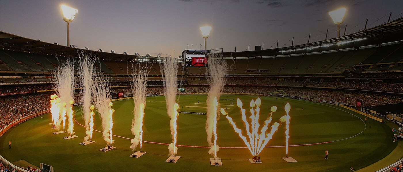 shot of a big bash match at the MCG with family, kids and fireworks